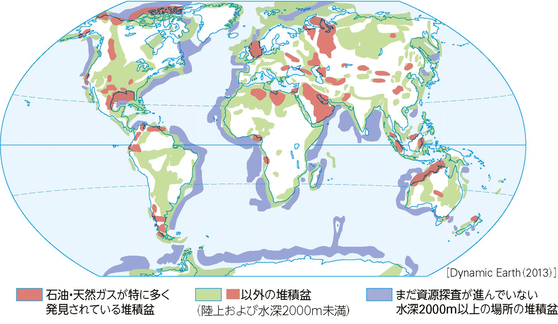 堆積物からなる厚い地層が分布する地域(=堆積盆)